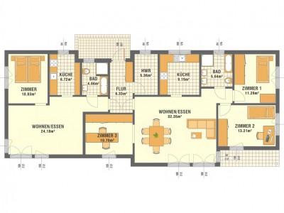 Rzuty parteru - dwa mieszkania